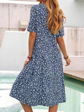 Women's Floral Printed Dress Casual Short Sleeve Midi Dress Plus Size - CHALIER