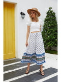 Women Holiday Shift Bohemian Floral Printed Long Beach Maxi Skirt - CHALIER