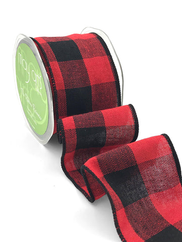 "Buffalo Plaid Ribbon - Red & Black 2.5"" Wired"
