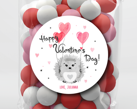 Hedgehog Valentine's Day Stickers or Tags