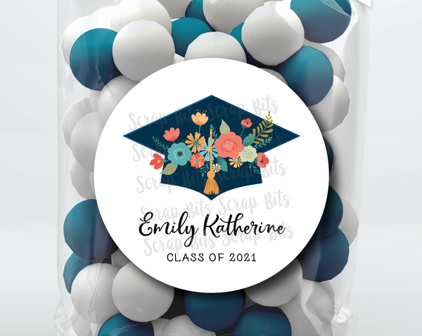Graduation Cap of Flowers . Graduation Stickers or Tags
