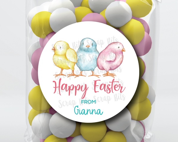 Watercolor Easter Chicks . Personalized Easter Gift Labels