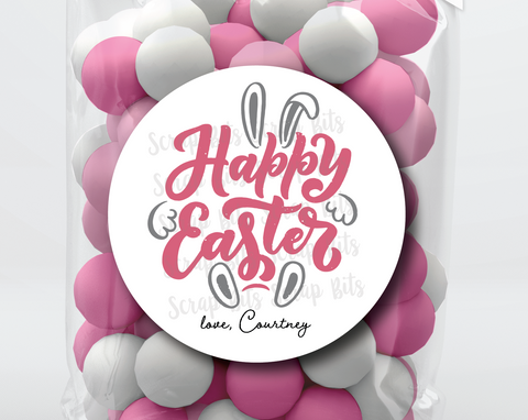 Happy Easter Bunny, Bold Cursive . Personalized Easter Gift Labels