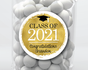 Class of 2021 Faux Gold Foil Graduation Stickers or Tags