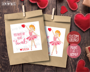 You Make My Heart Twirl Ballerina Valentines . Square Stickers or Printable Tags