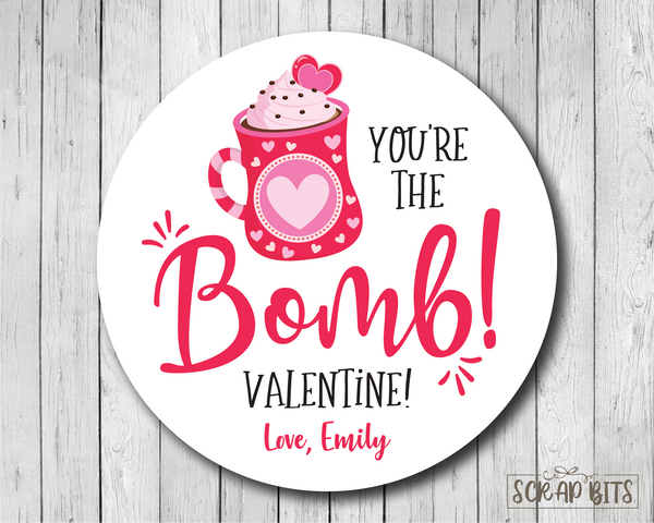 You're The Bomb . Hot Cocoa Bomb Valentine's Day Stickers or Tags