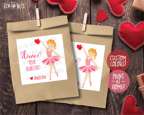 Dance Your Heart Out Ballerina Valentines . Square Stickers or Printable Tags
