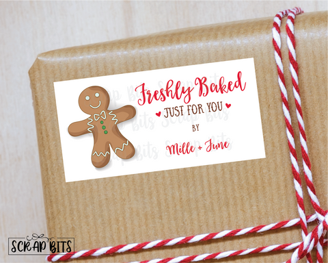 Freshly Baked Stickers, Gingerbread Cookie . Holiday Baking Labels