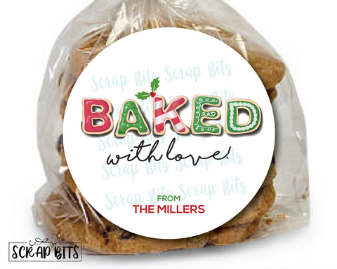 Baked With Love, Christmas Cookies Stickers or Tags . Christmas Baking Labels