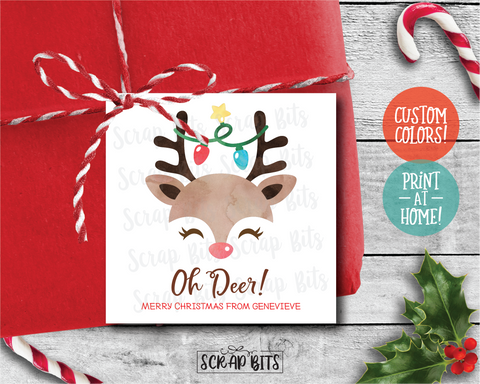 Oh Deer Christmas Gift Labels . Square Stickers or Printable Tags