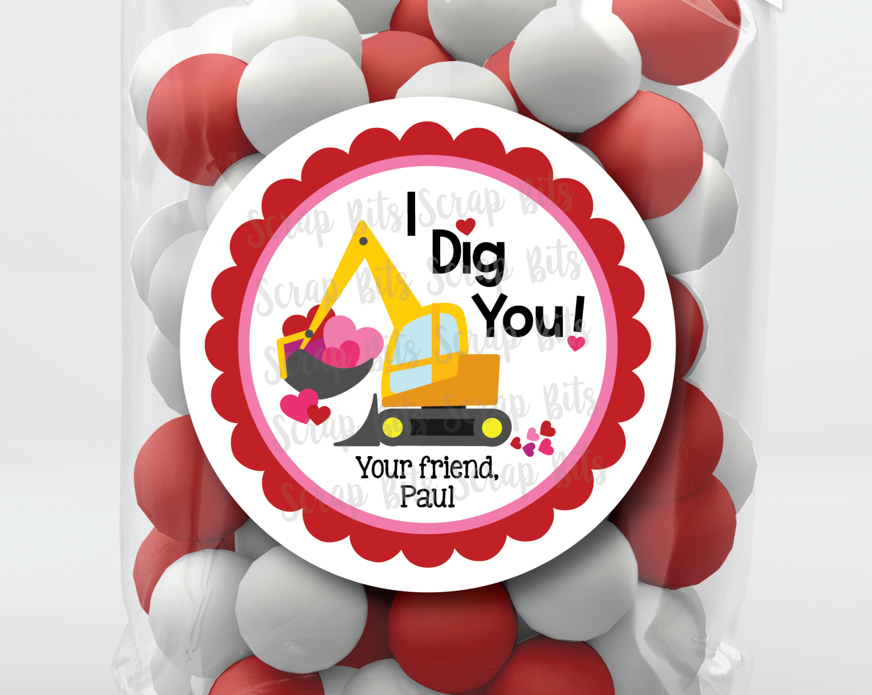I Dig You Valentines, Construction . Valentine's Day Stickers or Tags