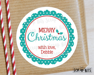 Merry Christmas, Polka Dot Scallop Stickers or Tags . Christmas Gift Labels