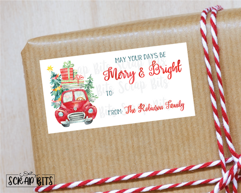 Christmas Car of Presents Stickers . Rectangular Christmas Gift Labels