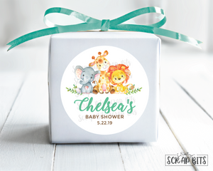 Jungle Animals . Baby Shower Favor Stickers or Tags