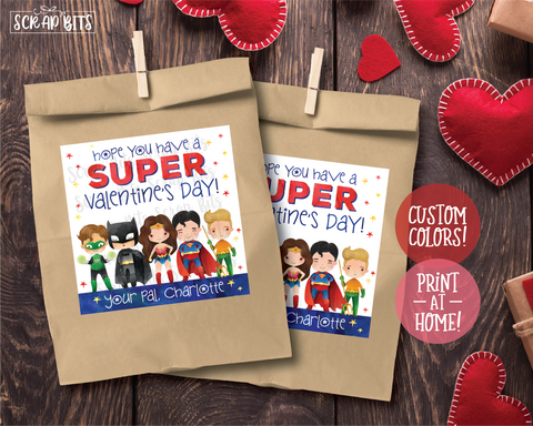 Super Hero Valentines . Square Stickers or Printable Tags