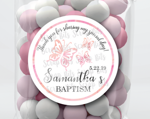 3 Watercolor Butterflies . Baptism Favor Stickers or Tags