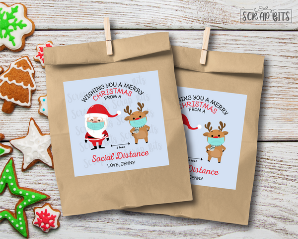 Merry Christmas From a Social Distance . Christmas Gift Labels . Square Stickers or Printable Tags