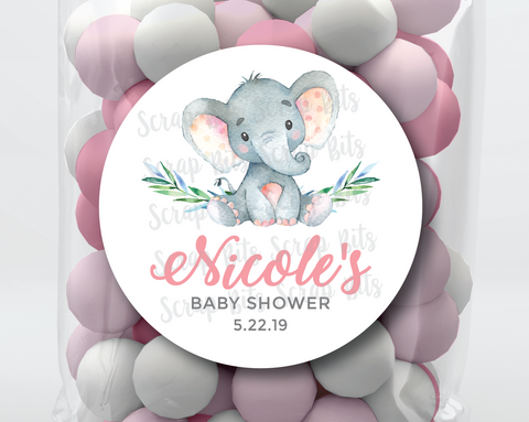 Baby Girl Elephant . Baby Shower Favor Stickers or Tags