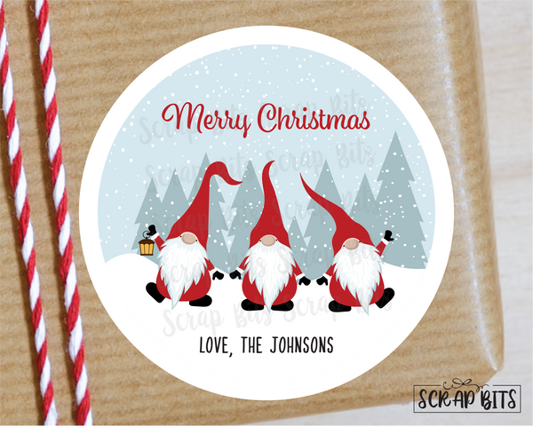 3 Christmas Gnomes Stickers or Tags . Christmas Gift Labels