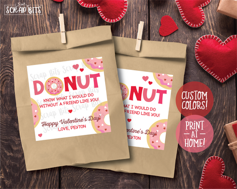 DONUT Know What I Would Do Without A Friend Like You . Square Stickers or Printable Tags