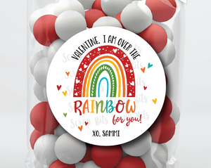 I Am Over The Rainbow For You . Rainbow Valentine's Day Stickers or Tags