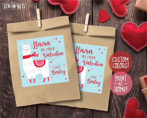 Llama Be Your Valentine . Square Stickers or Printable Tags