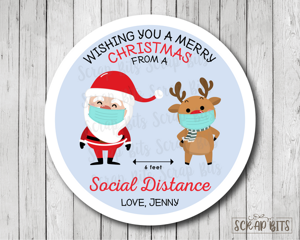 Merry Christmas From A Social Distance Stickers or Tags . Christmas Gift Labels
