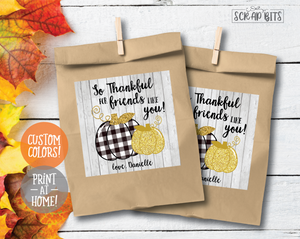 Buffalo Pumpkin, Thankful For Friends Like You - Square Stickers or Printable Tags