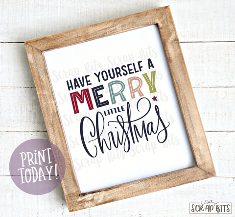 Have Yourself A Merry Little Christmas, Doodle Lettering Christmas Print . Instant Download