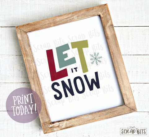 Let It Snow, Doodle Lettering Christmas Print . Instant Download