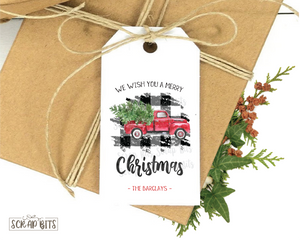 Christmas Truck on Buffalo Plaid . Personalized Christmas Gift Tags