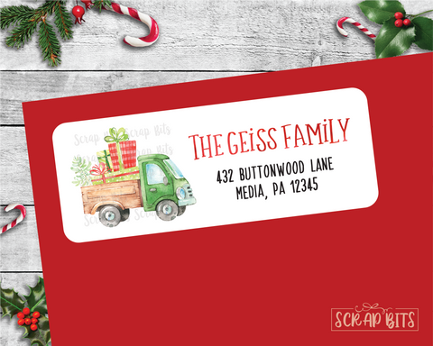 Farm Truck of Presents . Christmas Address Labels