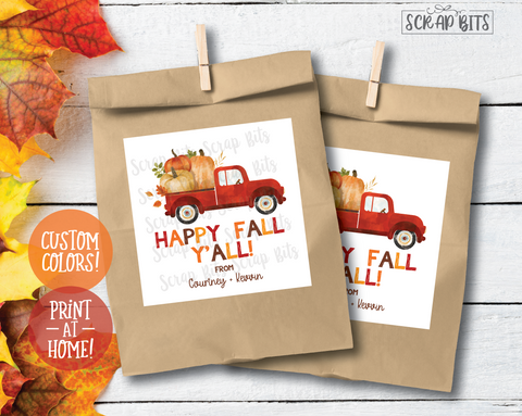 Happy Fall Y'All Red Pumpkin Truck . Printable Fall Tags