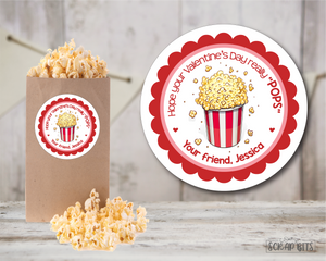 Valentine Popcorn . Valentine's Day Stickers or Tags