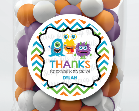 Monster Birthday Party Favor Stickers or Tags . Chevron