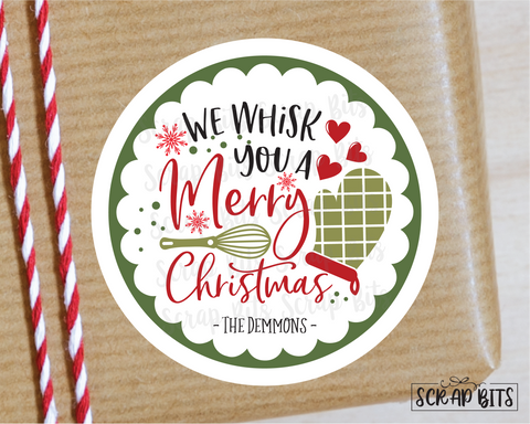 We Whisk You A Merry Christmas Stickers or Tags . Christmas Gift Labels
