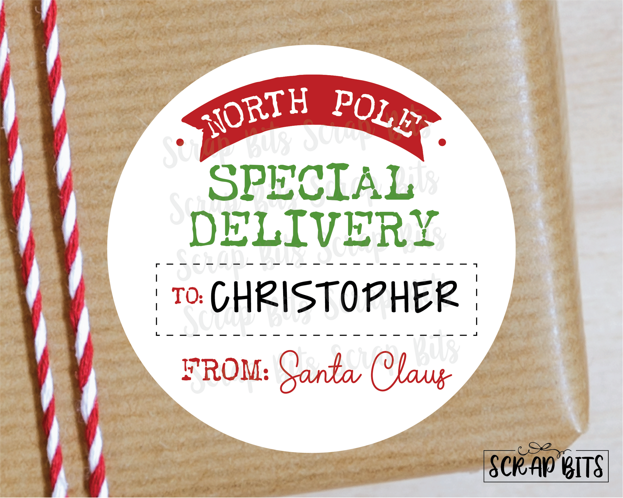 From Santa, Special Delivery Stickers or Tags . Christmas Gift Labels