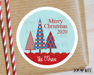 Patterned Christmas Trees Stickers or Tags . Christmas Gift Labels