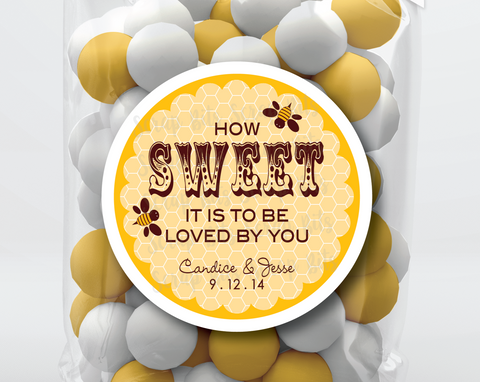 Honeycomb How Sweet It Is . Wedding Favor Stickers or Tags