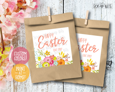 Happy Easter, Spring Flowers . Square Stickers or Printable Tags