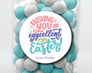 Wishing You An EGGcelent Easter, Bold Cursive . Personalized Easter Gift Labels
