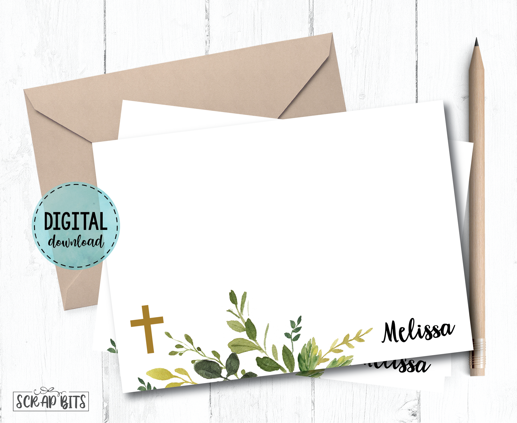 Communion Thank You Card, Watercolor Greenery . Communion Note Cards . Personalized Printable Digital Download