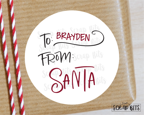 From Santa, Doodle Lettering Stickers or Tags . Christmas Gift Labels