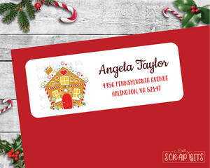 Gingerbread House . Christmas Address Labels
