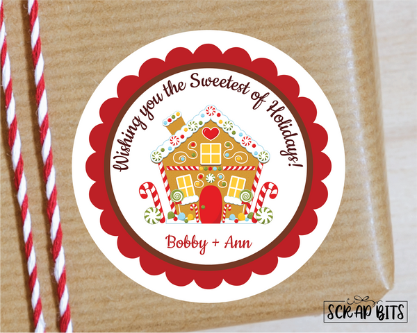Gingerbread House Stickers or Tags . Christmas Gift Labels