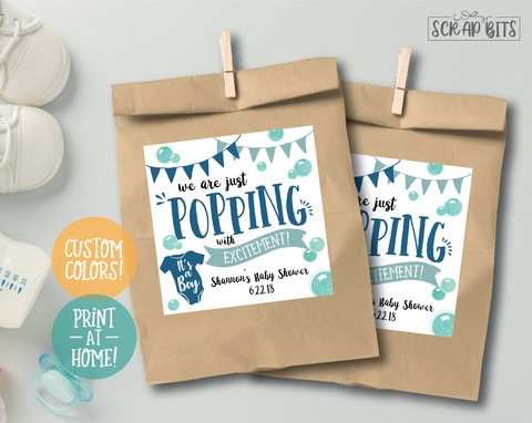 We Are Popping With Excitement . Baby Shower Favor Stickers . Square Stickers or Printable Tags