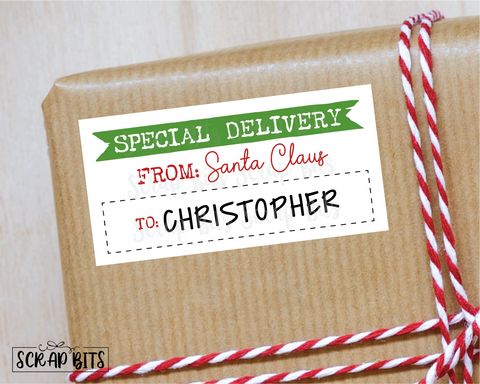 Special Delivery, From Santa Stickers . Rectangular Christmas Gift Labels