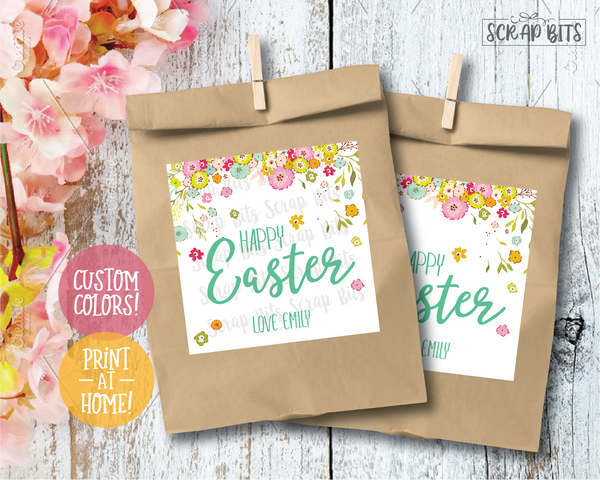 Happy Easter, Spring Scatter Flowers . Square Stickers or Printable Tags