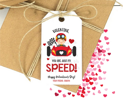 You Are Just My Speed . Race Car Valentine Tags
