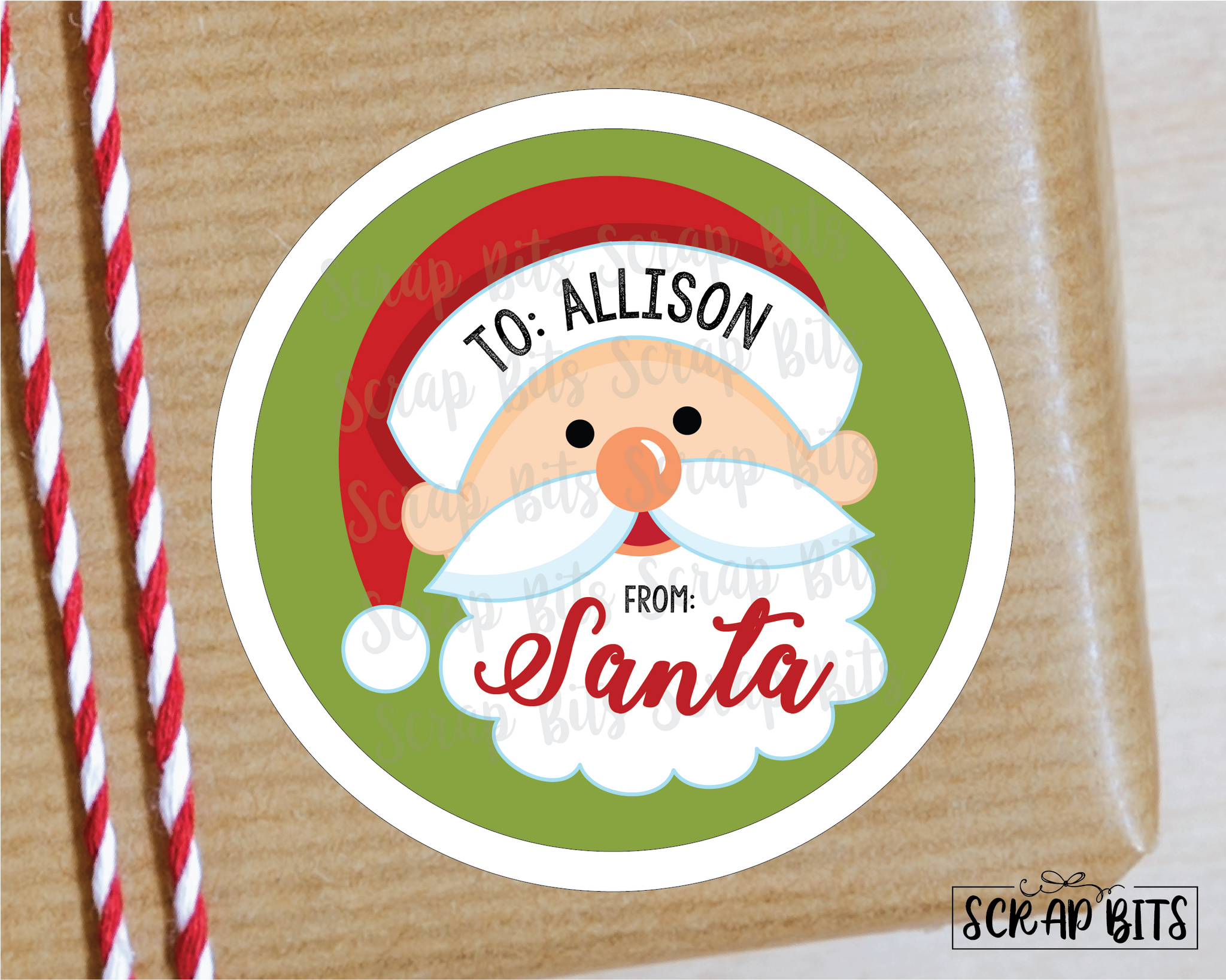 From Santa Stickers or Tags . Christmas Gift Labels